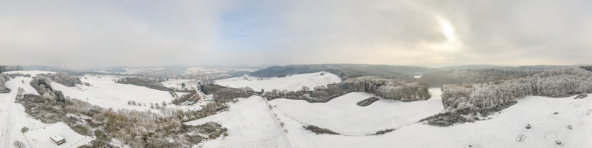 Winter panorama near Berghausen taken with the Phantom